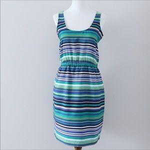 LOFT blue and green striped dress size XSmall